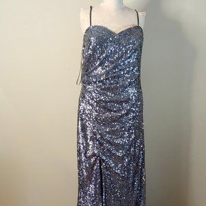 NWT Faviana Sequined Silver Long Gown in Pus Size
